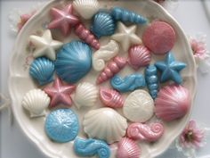 100 pieces Chocolate Candy Seashells - Wedding Bridal Baby Showers Birthday Parties - Snack Tray Cupcake Cake Decorations Toppers. $80.00, via Etsy.