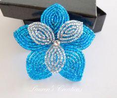 French Beaded Flower Hair Clip blue beaded by LaurenHCreations, $20.00