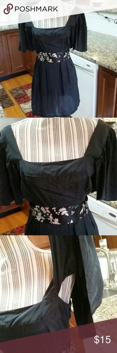 Miss Me silk blouse Gorgeous black silk blouse with tie around waist. Arms are open on the bottom. Zipper on left side. Bought this shirt on this sight & never wore it & just trying to get what I bought it for. Miss Me Tops Blouses