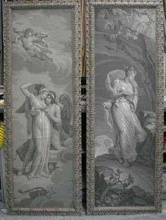 Framed 19th-century French wallpaper panels