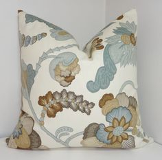 Beautiful floral tan/brown/slate blue pillow cover with cream background    Zipper closure with all seams finished. Choose size at checkout    100%
