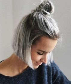 Messy Top Knot Hairstyle Ideas for Short Hairs 2017