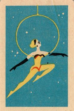 Russian match box graphic dancing lady aerial with gloves