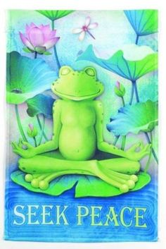 "Garden Accents ""Seek Peace"" Garden Flag by Ganz. $9.99. UV Treated. Weather Proof. Flag pole is NOT included with this item. This listing is for the flag only.. Flag Dimensions: 12""w x 18""h. Bring peace into your garden with this Ganz peace frog garden flag!"