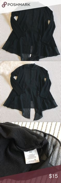 Black Chiffon  Drapey Cardigan Sweater Gorgeous and fancy. Black cardigan with chiffon trim. The curve of the trim and the way it drapes in front is incredibly flattering. Signs of wear and some minor pilling in the knit part of the cardigan. Still a lot of life left! Metaphor Sweaters Cardigans