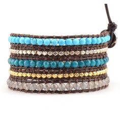 Turquoise and Metallic Beads on Brown Leather