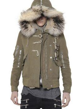 Moncler Vercors Men Fixed Hood With Fur Edging & Interior Coat