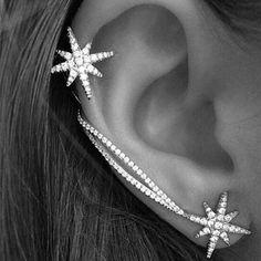 حار جديد أزياء نجوم الأذن الكفة العصرية شخصية الفاخرة كليب أقراط للنساء المجوهرات بالجملة شحن مجاني