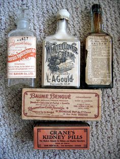 Saved by Jessie Jay Mademann (jessiejaytlp) on Designspiration Discover more Pharmacy Vintage Bottles Packaging inspiration. Apothecary Bottles, Antique Bottles, Vintage Bottles, Bottles And Jars, Vintage Labels, Vintage Ads, Apothecary Bathroom, Apothecary Pharmacy, Vintage Ephemera