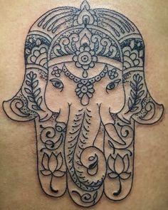 Elegant Elephant Hamsa Cute Tattoo Design
