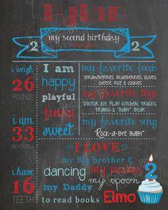 1st, 2nd Birthday Chalkboard Poster Sign, Boy, Elmo, Cookie Monster, Thomas the Train, Red, Blue, Milestones *custom digital printable*