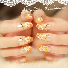 Aliexpress.com : Buy New Arrivals French little daisy oval false nail,3d decor acrylic nails tips,orange full set fake nails,24 pcs,free shipping on Jessie's shop. $7.19