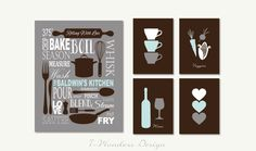 "Personalized Kitchen Art Subway Style with Cups and Hearts Prints - Set of (5) - 5"" x 7's"" and 11"" x 14"" // Modern Kitchen Art Decor on Etsy, $51.35 CAD"