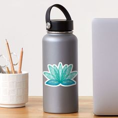 """""""Calm Corner Lotus Floral Watercolor on rose marble"""" Sticker by nobelbunt   Redbubble Logo Sticker, Sticker Design, Carpe Koi, Watercolor Stickers, Medical Art, Plastic Stickers, Passion Flower, Personalized Water Bottles, Decorate Notebook"""