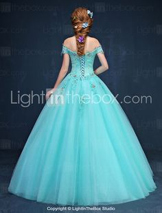 Formal Evening Dress Ball Gown Off-the-shoulder Floor-length Tulle with Appliques / Crystal Detailing 2017 - $139.99