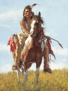 """Masterworks Edition on Canvas Size: 23"""" x 31"""" Edition Size: 85 A word from Howard Terpning. Is this serious brave pondering past or future battles, planning a hunting strategy, or perhaps thinking abo"""