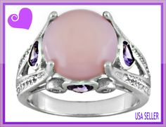 11 mm Round Peruvian Pink Opal with Heart Shaped Amethyst and White Topaz Ring
