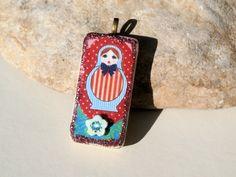 pendentif domino 5cm - poupée russe bohème pois rayures fleur POPPY IN THE SKY fournitures matriochka bleu : Accessoires pour bijoux par poppy-bis