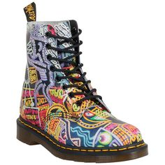Dr. Martens Women's Wigan Kaboom Pascal Boot ($160) ❤ liked on Polyvore featuring shoes, boots, multicolor, laced boots, multi colored boots, lacing boots, lightweight shoes and multi color boots