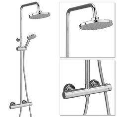 Cruze Round Thermostatic Bar Shower Valve & Riser Kit - Chrome at Victorian Plumbing UK Home Suites, Bath Screens, Mixer Shower, Modern Bathroom, Bathroom Ideas, Loft Bathroom, Acrylic Panels, Shower Kits, Shower Valve