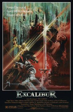 Movie poster for Excalibur starring Nigel Terry, Helen Mirren and Nicholas Clay from 1981. 11 x 17 high quality reproduction on card stock.