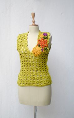 Crochet  Vest  Sweater  colorful flowery  pear by crochetbutterfly, $57.00