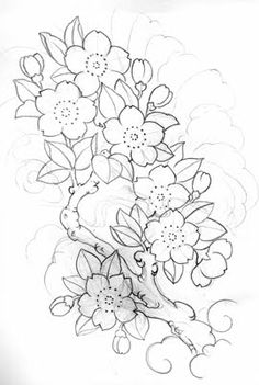 drawings of cherry blossom sunflower design Japanese Tattoo Art, Japanese Tattoo Designs, Japanese Sleeve Tattoos, Flower Tattoo Designs, Flower Tattoos, Japanese Art, Flash Tradicional, Flor Oriental Tattoo, Cherry Blossom Drawing