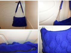 blue royal bag leaf design with zipper