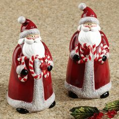 Candy Cane Santa Salt and Pepper Shakers Set  Set of Two