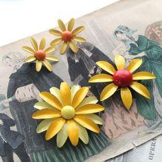 vintage 1960s 3pc enamel flower set - DAISY yellow flower brooch & earring lot by MsTips on Etsy https://www.etsy.com/listing/230715671/vintage-1960s-3pc-enamel-flower-set