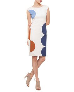 reputable site ecc52 d21e4 B2ZTY Akris punto Scoop-Back Circle-Print Dress Straight Dress, Nordstrom  Dresses,