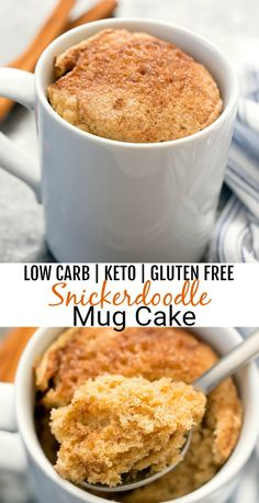 Low Carb Snickerdoodle Mug Cake. This easy cinnamon microwave mug cake tastes like a snickerdoodle cookie in cake form. It's low carb, gluten free and keto friendly. keto mug cake Low Carb Snickerdoodle Mug Cake Desserts Keto, Keto Snacks, Dessert Recipes, Dinner Recipes, Easy Keto Dessert, Diabetic Snacks, Simple Keto Desserts, Mug Cookie Recipes, Carb Free Desserts