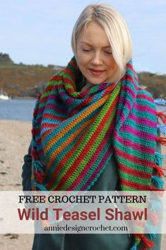 Crochet free pattern for an asymmetric triangle shawl using two balls of gradient yarn. Crochet Shawl Free, Crochet Shawls And Wraps, Basic Crochet Stitches, Crochet Basics, Crochet Scarves, Crochet Clothes, Knit Crochet, Crochet Vests, Crocheted Blankets