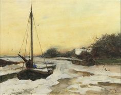 Willem de Zwart - By the river in winter; Medium: watercolour and gouache on paper