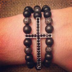 Triple Strand Black Wood Beads with Sideways by AroundMyWrist, $18.95