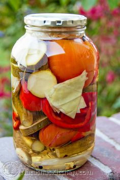 Canning Vegetables Assortment (Assorti) is the perfect way to use up your end-of-season garden vegetables in a salty/sweet pickling brine. Canning Vegetables, Mixed Vegetables, Jam Recipes, Canning Recipes, Recipies, Vegan Recipes, Carmel Apple Jam Recipe, Canning Peppers, Canning Pickles