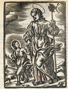 Xilografía alusiva en cabecera de San José caminando cogiendo de la mano al Niño Jesús, llevando una cesta en la mano
