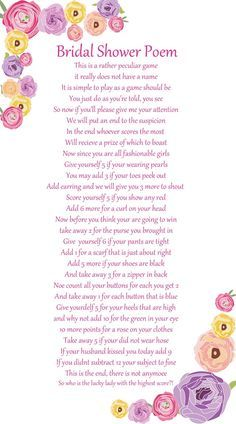 Wedding Shower Poems Gift Ideas : ideas about Bridal Shower Poems on Pinterest Bridal, Bridal Shower ...