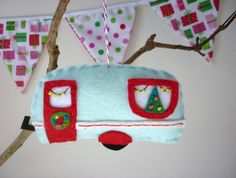 caravan decoration - hand stitched and embroidered, woolmix felt, lightly stuffed with poly-fill and hangs from a loop of Candycane Divine Twine.  Measures 8cm high by 12cm wide.