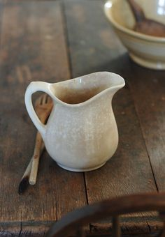 Antique Ironstone Pitcher with Mottled Aging