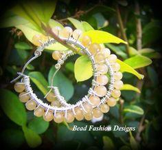 Silver Plated Citrine Hoop Earrings.  4mm citrine gemstones, silver plated wire and 25mm silver plated hoops.  https://www.etsy.com/shop/BeadFashionDesigns SOLD !