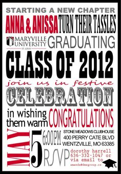Subway Art Graduation Party Post Card Style Invitation – Custom PDF to Print by #SpilledGlitter