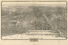 - Birds-eye view map of downtown Chicago 1916.