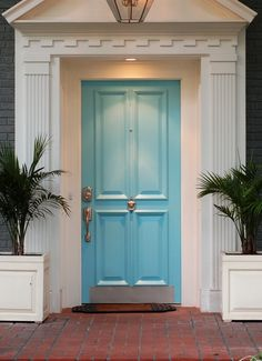 Adorable Front Door Colors for Grey House: Giving Bright Ambience to the House: Modern House Design Blue Front Door Colors For Grey House Brick Pathway ~ flycdia.com Doors Inspiration