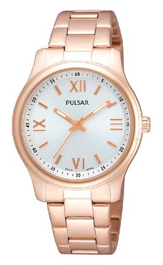 Ladies watch designed with a rose gold finish stainless steel case and bracelet. Dial features rose gold markers and luminous hands. 30 meters water resistant. 30M water resistant PH8064 www.pulsarwatchesusa.com