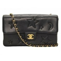 Chanel Vintage Black Leather Star Classic 2.55 Flap Bag