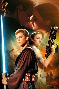 Anakin Skywalker and Padme Amidala (Hayden Christensen and Natalie Portman) Anakin Skywalker, Anakin Vader, Anakin And Padme, Darth Vader, Star Trek, Film Star Wars, Star Wars Poster, Star Wars Art, Amidala Star Wars