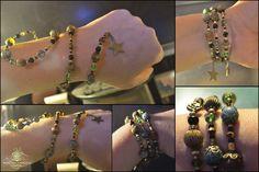"""Nouvelle Créa: Marie Wicca. Série """" Wiccan jewelry """"  Beau Bracelet """"wicca apprentice"""".  DIM: Approximativement 36cm Bracelet enroulant.  Origine Pierre: Divers Fait main.  Matières: Perles cristal,Agate noir,Agate veines de dragon,perles de verre,perles de laiton et alliages. Ref:0206"""