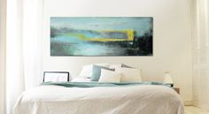Landscape Abstract painting  Grey and Yellow door RonaldHunter, $399.00