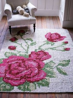 Floral Leather Tapestry Rug NEW - Rugs, Cushions & Throws - Decorative Home - Home Floral Leather Tapestry Rug - could you single crochet and then cross stitch over? Floral Leather Tapestry Rug woweeeeeee this is divine xox Amazing Cross Stitch Rug ~~She Cross Stitching, Cross Stitch Embroidery, Embroidery Patterns, Cross Stitch Patterns, Deco Boheme, Romantic Cottage, Tapestry Crochet, Cross Stitch Flowers, Cross Stitch Rose
